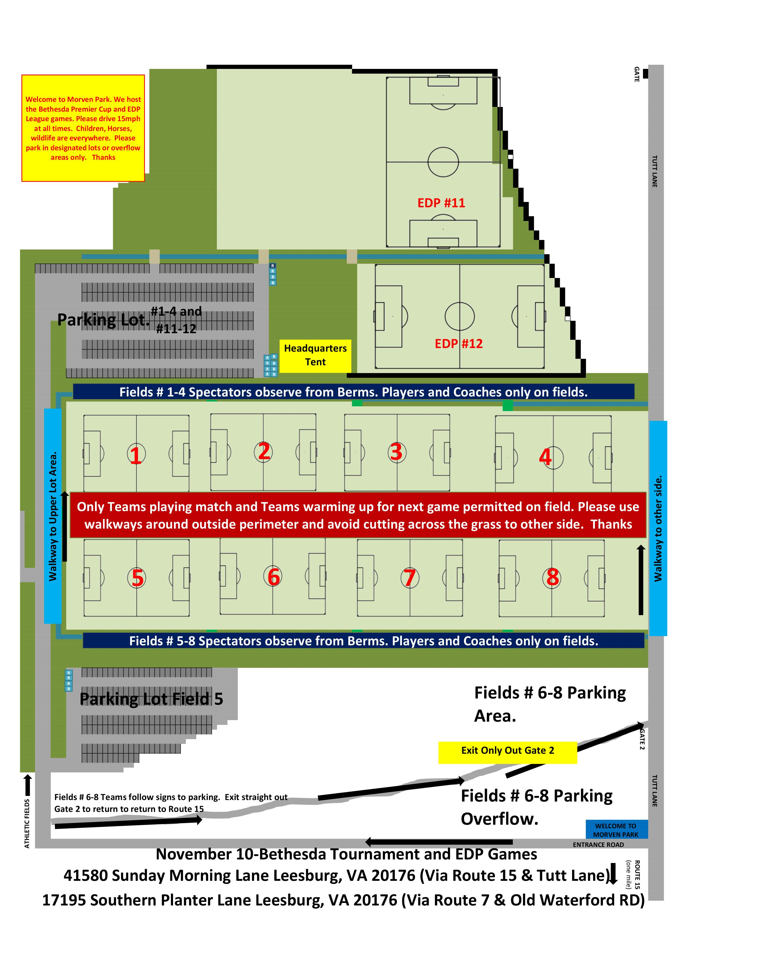 November 10 Field Layout (Bethesda Tournament and EDP Games)